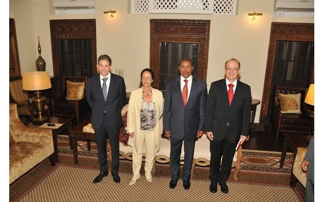 Mr Blévin, HE Mrs Berak, HE M. Kikwete and Mr Boncour