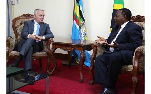 Mr. Jean-Marc Ayrault with Mr. Augustine Mahiga, Minister of Foreign Affairs and East African Cooperation